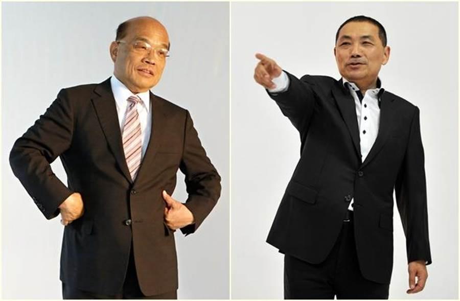 年底新北市長選戰,蘇貞昌(左)對決侯友宜。(報系資料照 張鎧乙、劉宗龍攝)
