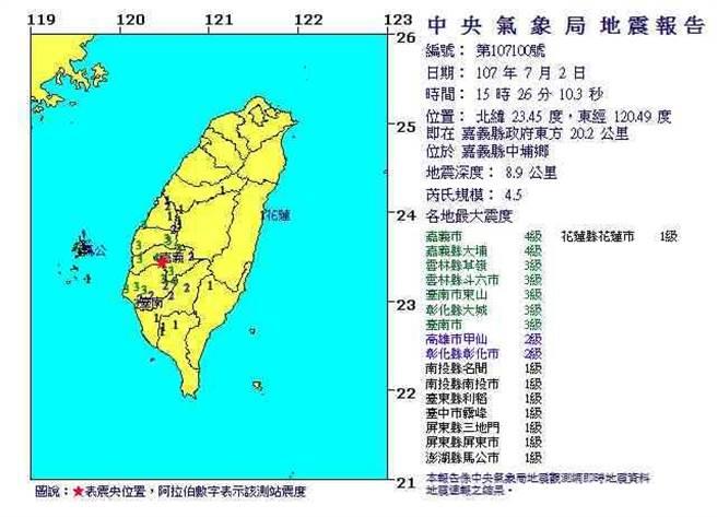 嘉義地震最大震度4級 深度8.9公里 (翻攝自中央氣象局)