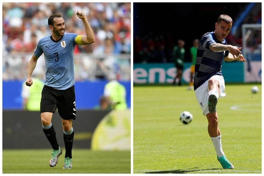 烏拉圭隊長高定(左/美聯社)是法國前鋒格里茲曼(右/路透)在馬德里競技的隊友,也是他女兒的乾爹。