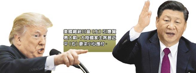 美國總統川普(左)引爆貿易大戰,大陸國家主席習近平(右)要求小心應付。(美聯社)
