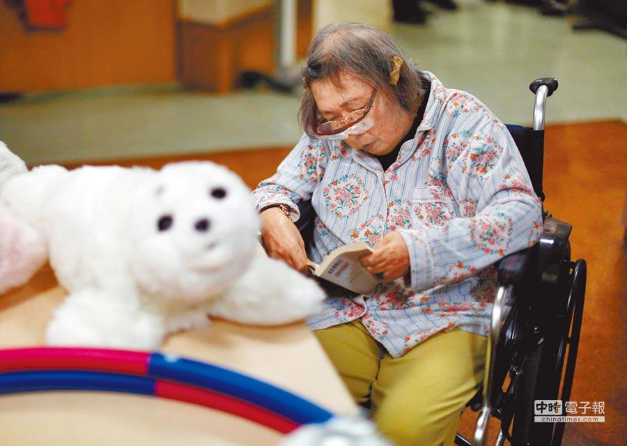 在東京一間療養院,失智症患者正在讀書,白色的機器寵物海豹「PARO」在一旁陪伴。(路透)