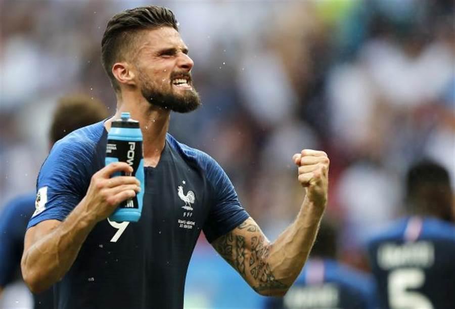 法國隊前鋒吉魯本屆世足賽還未進球。(美聯社)