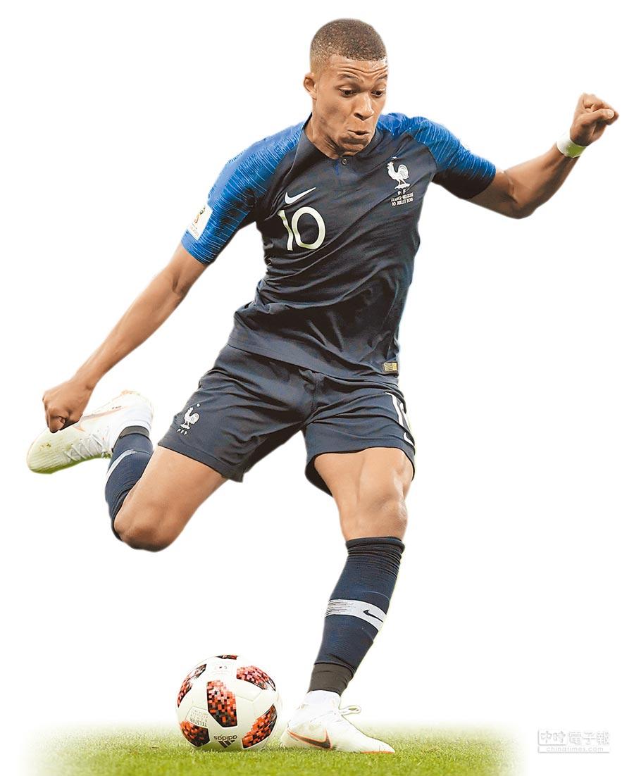 世足決賽將有5名巴黎聖日耳曼球員參與,法國小將姆巴佩為其中之一。(法新社)
