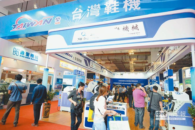 2014年4月18日國際鞋業博覽會在福建晉江開幕。圖為台商展位。(中新社資料照片)