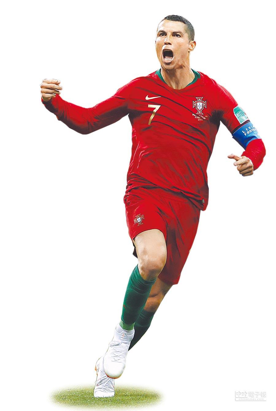 C羅在葡隊與西班牙之戰,包辦全隊3顆進球,以「高齡」33歲又131天,成為世足史上最老的「戴帽子」球星。(美聯社)