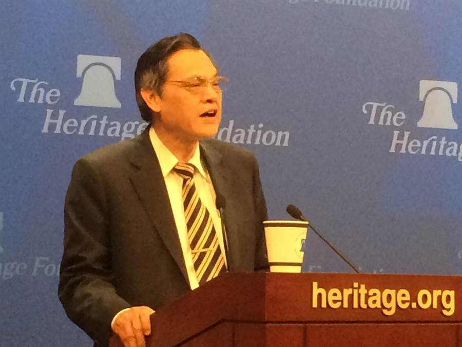 陸委會主委陳明通在美發表「民主自由是發展兩岸關係的重要基石」為題演講。(中天駐華府特派臧國華/攝)