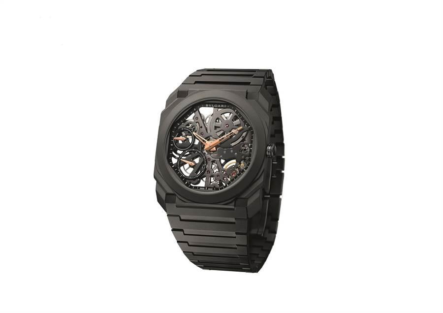 寶格麗OCTO FINISSIMO SKELETON超薄鏤空腕表, 73萬2000元。(BVLGARI提供)