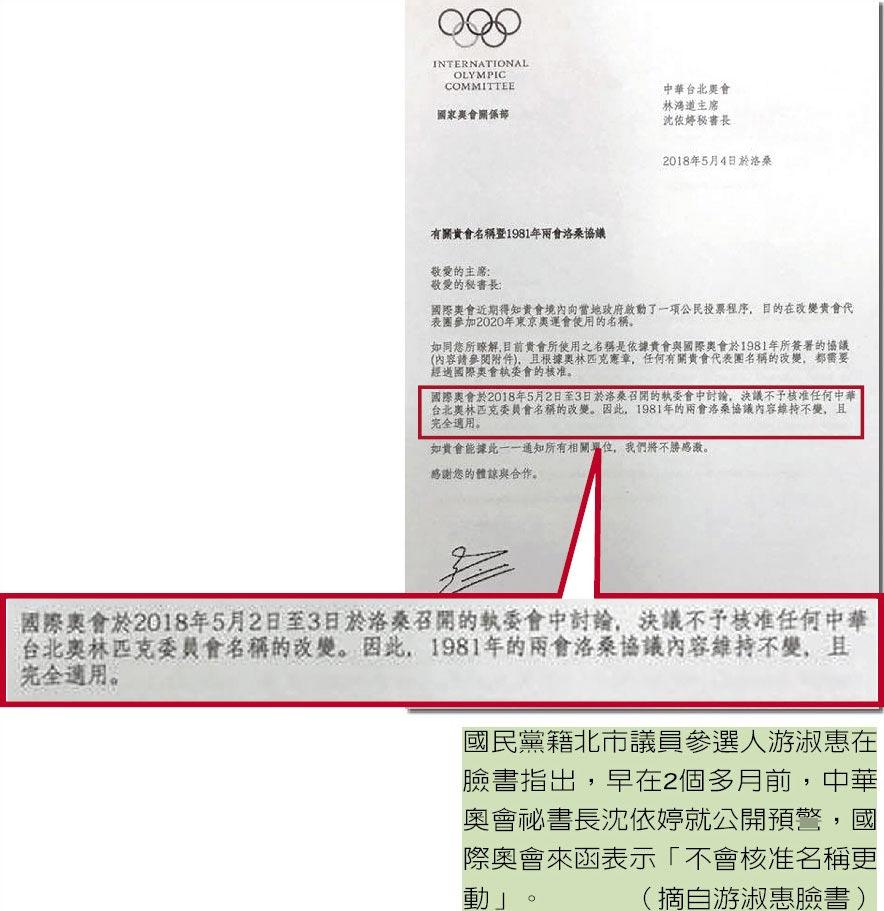 國民黨籍北市議員參選人游淑惠在臉書指出,早在2個多月前,中華奧會祕書長沈依婷就公開預警,國際奧會來函表示「不會核准名稱更動」。(摘自游淑惠臉書)