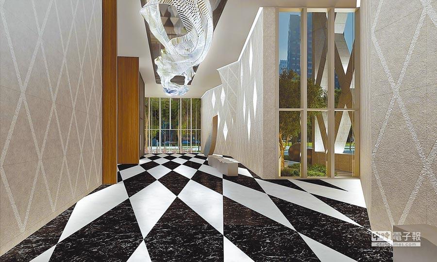 「宝格」外觀與室內公設大量採用菱格紋設計,充滿時尚感。(大陸建設提供)