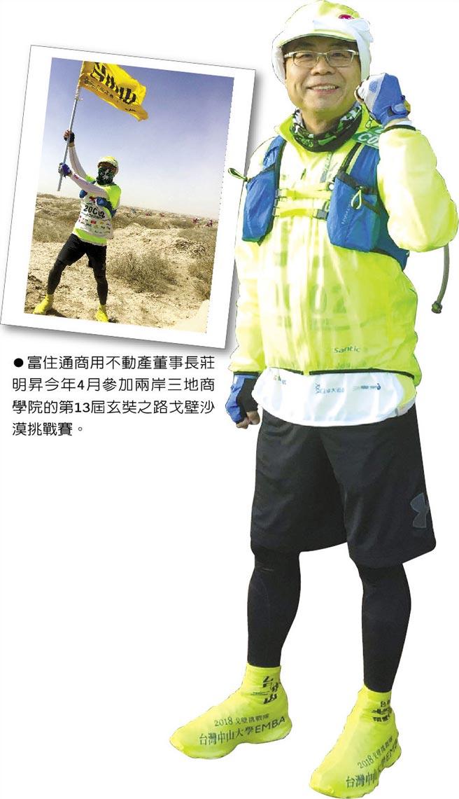 富住通商用不動產董事長莊明昇今年4月參加兩岸三地商學院的第13屆玄奘之路戈壁沙漠挑戰賽。◎圖/私人提供