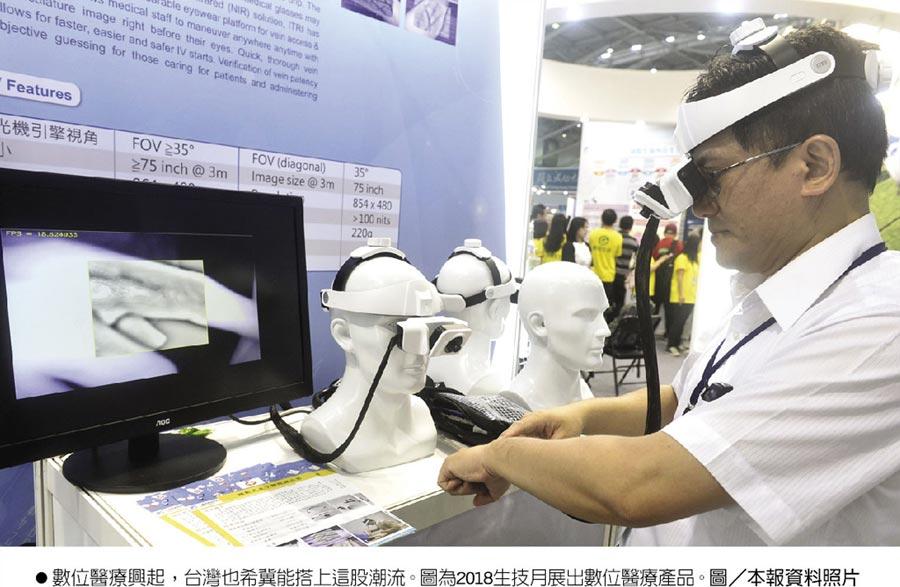 數位醫療興起,台灣也希冀能搭上這股潮流。圖為2018生技月展出數位醫療產品。圖/本報資料照片