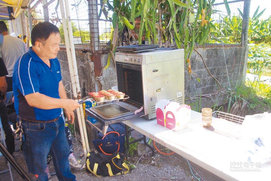 電力透過電瓶儲存,可應用在烘焙蛋糕或打果汁與手機充電等地方。(許家寧攝)
