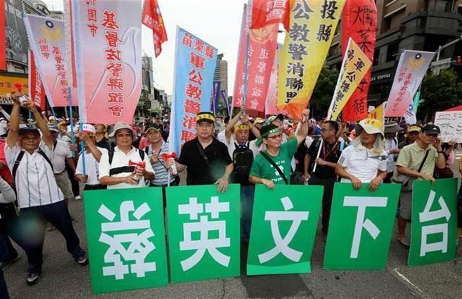 圖為反年改抗議團體。(報系資料照,黃國峰攝)