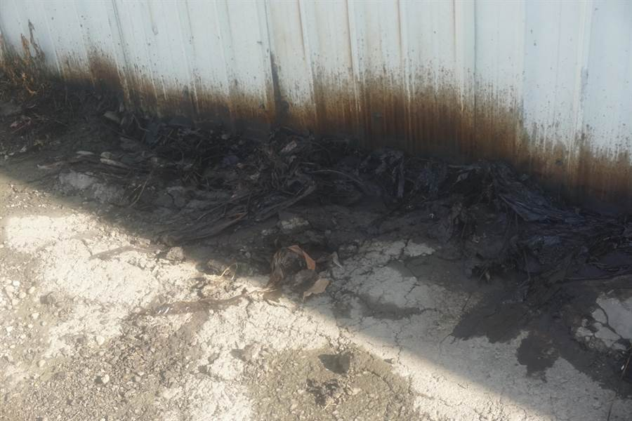 位於山上工業區明和里內的北勢洲道路,2日上午發現大量黑色油漬染黑路面和溝渠,居民懷疑是附近工廠排放廢油肇禍。(李其樺攝)