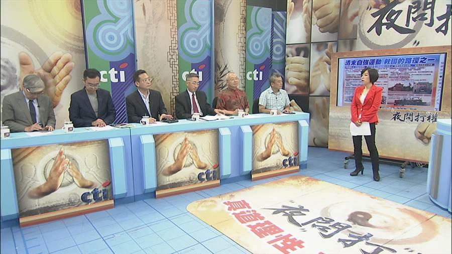 8月3日夜問打權,主持人黃智賢(右起),來賓:董智森、朱高正、王丰、吳育昇、黃子哲、張友驊。(圖/中天提供)