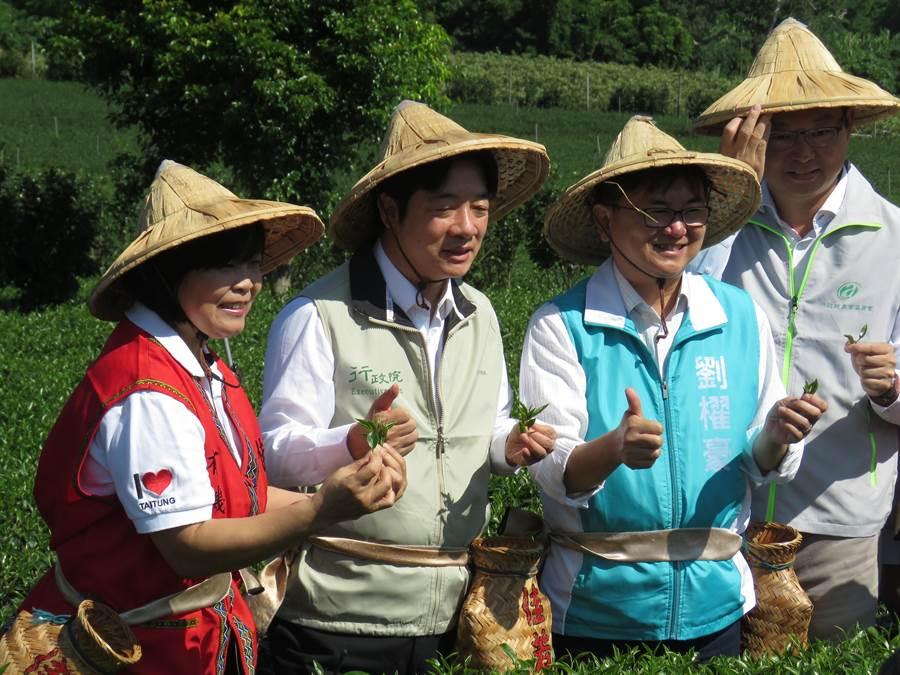 賴清德(左2)到台東關心農業。(楊漢聲攝)