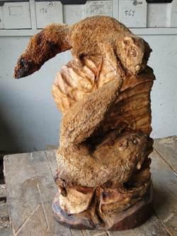 花蓮》木雕家西又完成新作〈鼠來寶〉 活靈活現