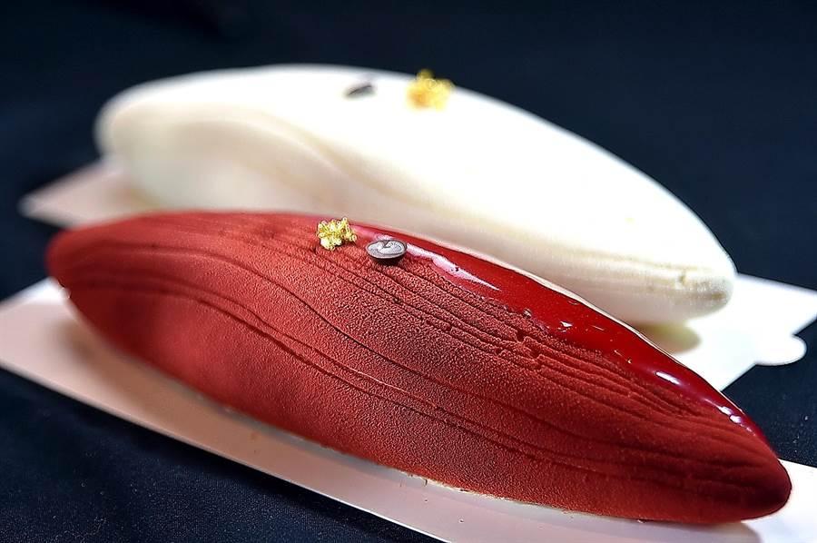 以大海鯨魚身形製作蛋糕,紅色的叫〈赤潮〉、白色的是〈泊流〉,前者以紅瑰露和野莓增艷提味,後者則有蜜漬檸檬的酸甜,外層並用閃亮的巧克力淋面與鯨魚的腹摺呼應。(攝影/姚舜)