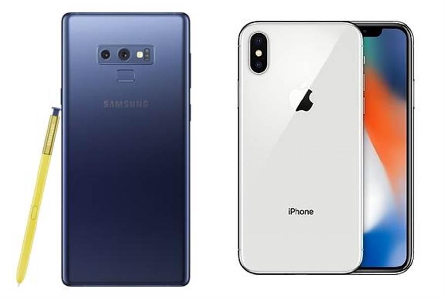 三星Galaxy Note 9以及蘋果iPhone X。(圖/翻攝三星、蘋果官網)