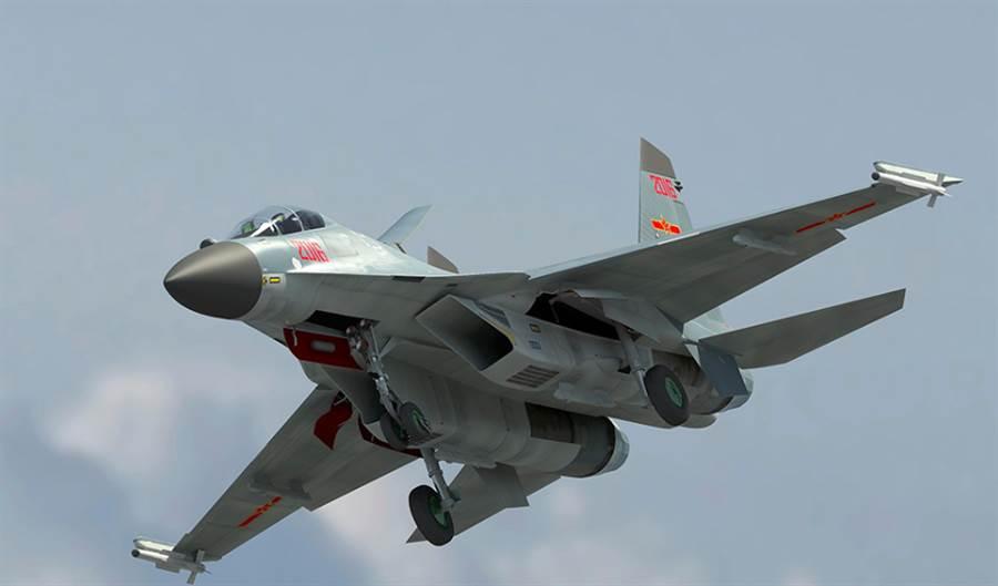 解放軍殲-16戰機最大的特點,就是具備超視距攻擊能力,以及強大的對地與對海打擊能力,而這款雙發戰機服役,意味解放軍能在沿岸大範圍進行對艦攻擊。(網路)