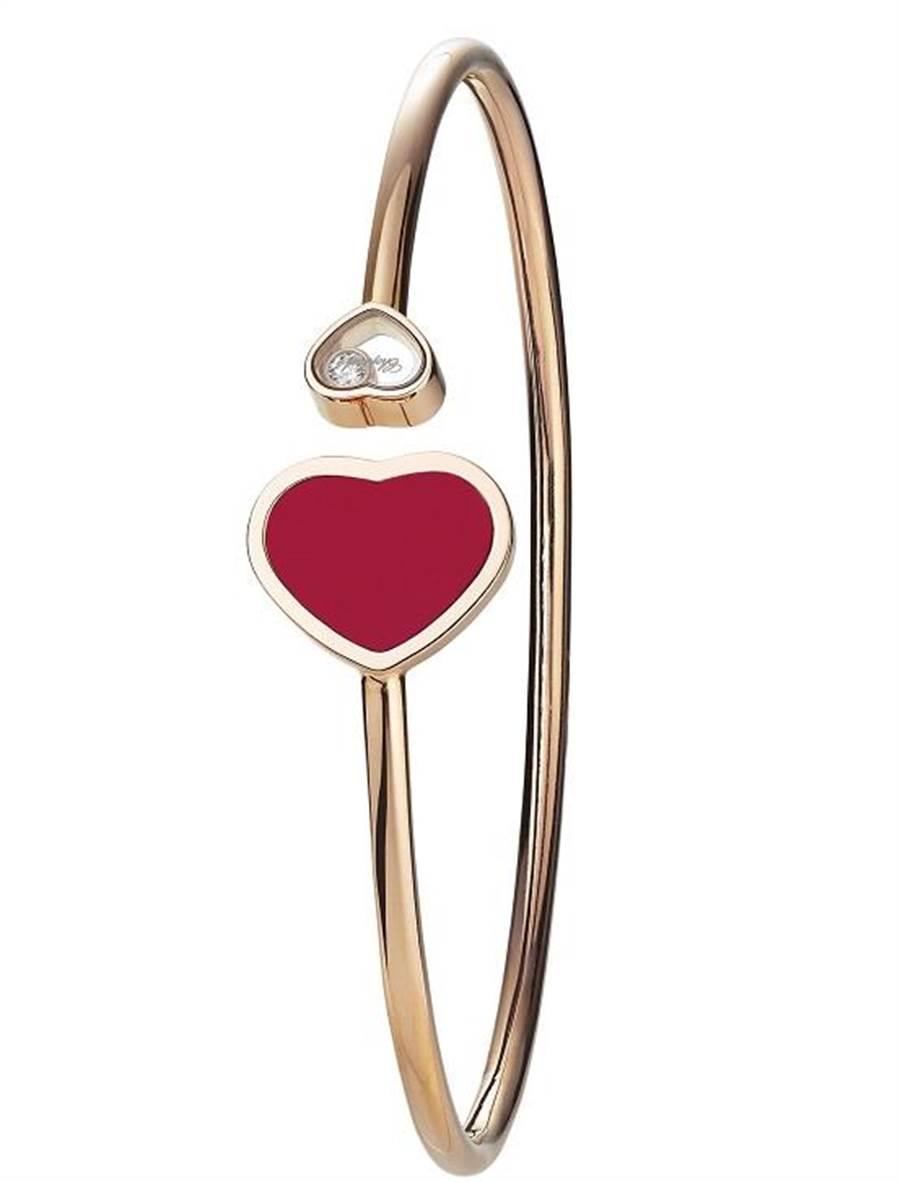 蕭邦Happy Hearts紅珊瑚愛心手環,售價10萬200元。(CHOPARD提供)