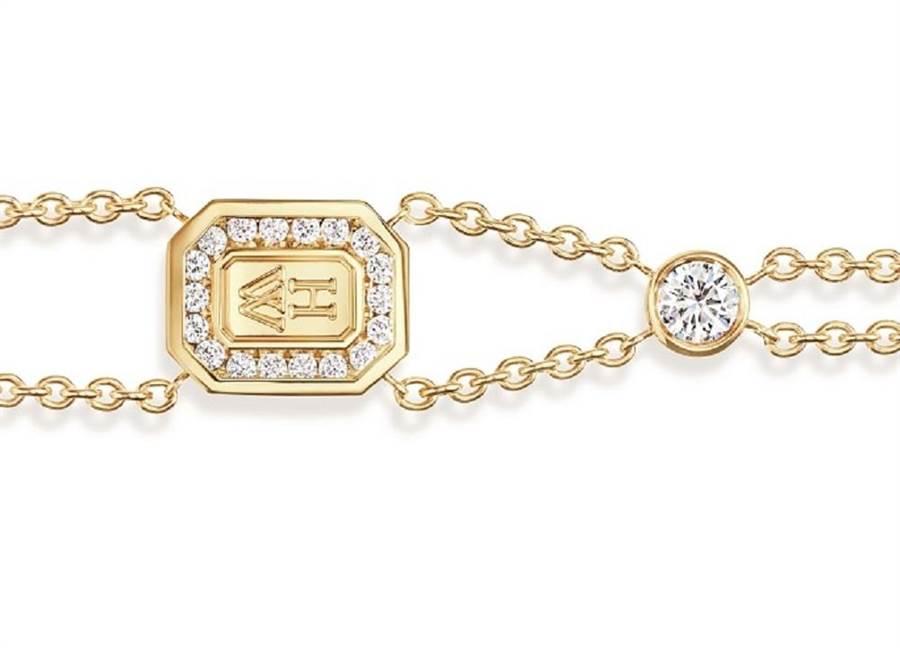 海瑞溫斯頓發表「HW」 LOGO珠寶系列,K金鑽石手鍊8萬7000元。(CHOPARD提供)