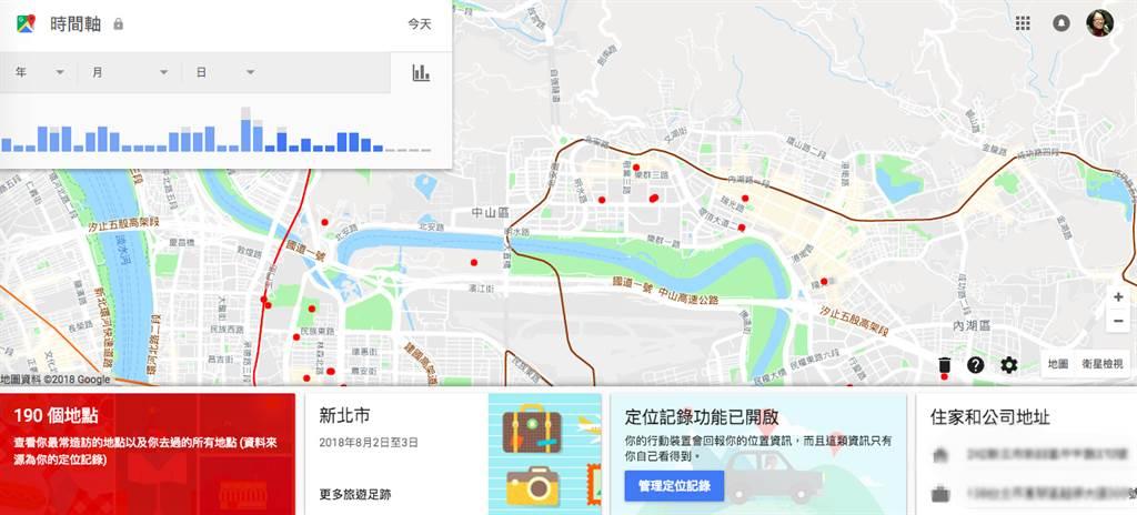 Google被發現即便使用者關閉GPS定位功能,仍舊可以追蹤使用者,受影響者可能超過20億以上。(圖/翻攝Google Maps時間軸)