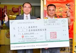 「大樂透」8億頭獎中獎人 送彩券行168萬大紅包