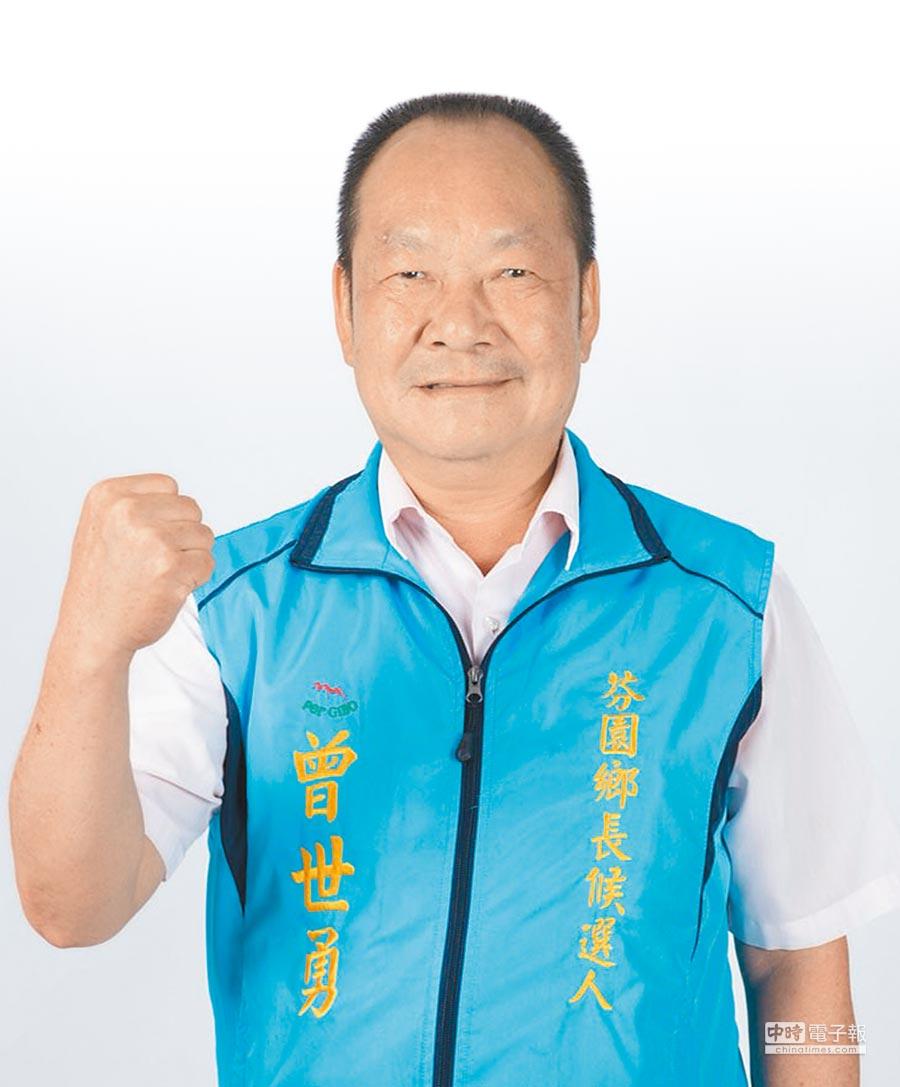 國民黨提名參選人曾世勇,連霸6屆議員,轉換跑道,接受新挑戰。(吳敏菁攝)