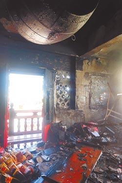 北港武德宮財神廟火警 鼓樓受損