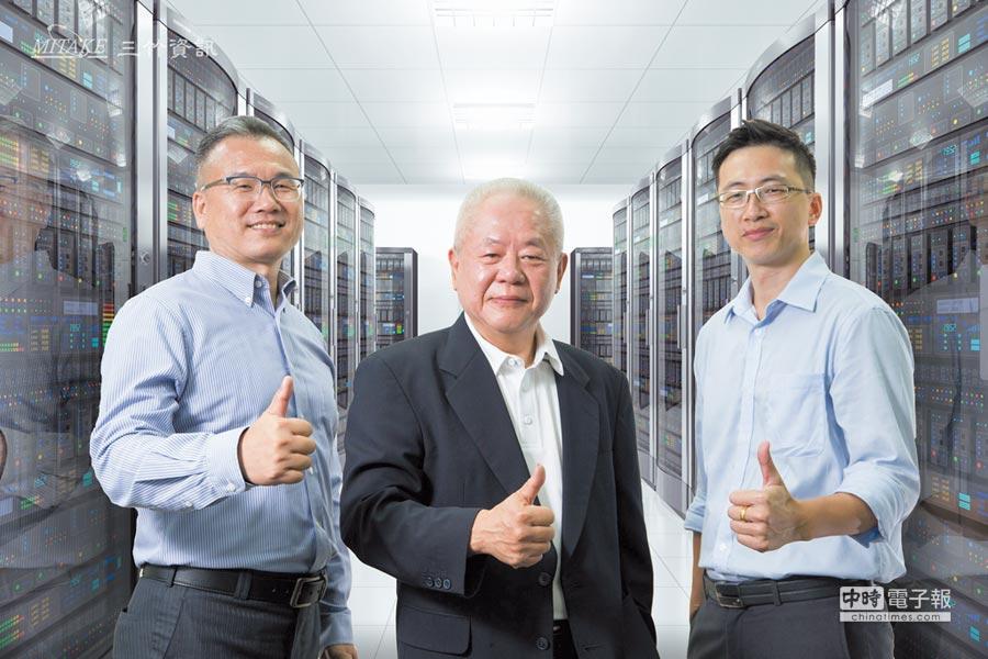 三竹資訊董事長邱宏哲(中)與資深業務協理尤俊雄(左)及簡訊研發部副總吳育霆(右)為三竹資訊稱霸電話簡訊市場的重要推手。圖/業者提供