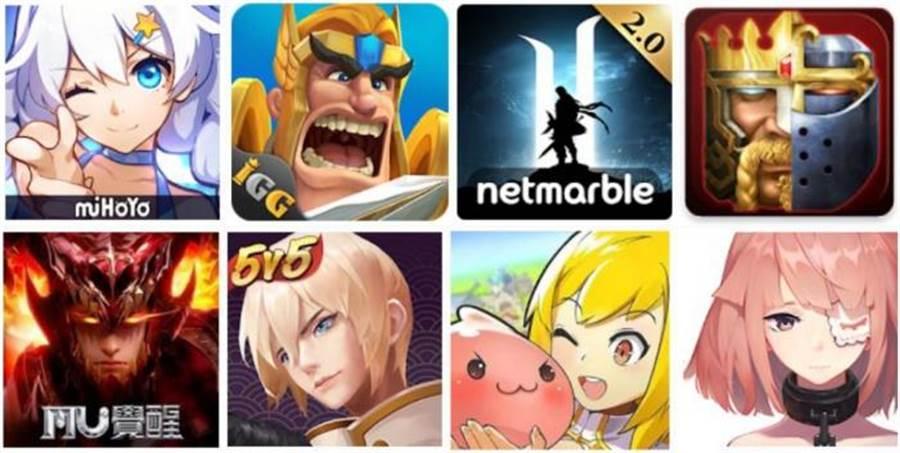 由左至右、由上至下分別是參與本次Google Play夏日慶典指定虛寶最高8倍送的手游,為《崩壊3rd》、《王國紀元》、《天堂2:革命》、《列王的紛爭(Clash of Kings) : 拳皇特別版》、《奇蹟MU:覺醒-2018華麗革新MMORPG》、《決戰!平安京》、《RO仙境傳說:守護永恆的愛》、《永遠的7日之都》的App icon。(圖/Google提供)