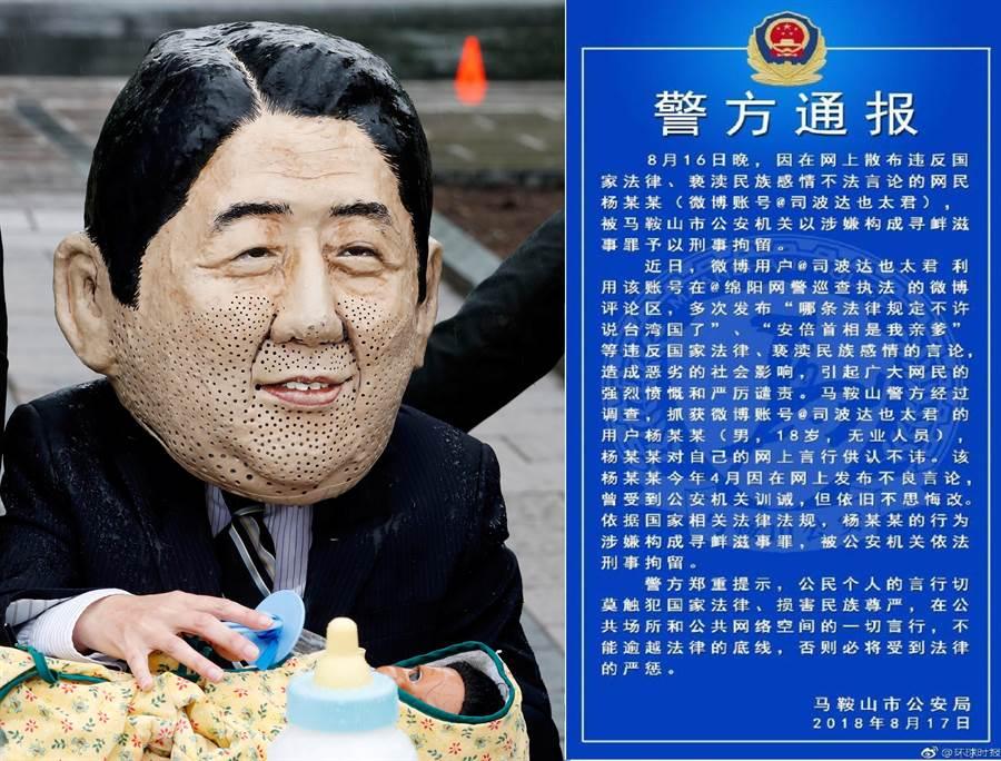 一名韓國人戴上日本首相安倍晉三的頭套對來訪安倍表達抗議(左),大陸則有網民因在公安局討論區發文叫「安倍是親爹」被捕(右)。(圖/合成圖)