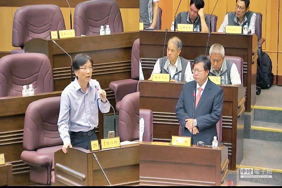 市議員詹江村(左)要求市府對於鐵路地下化與社會住宅要講清楚,不要說幹話。(甘嘉雯攝)
