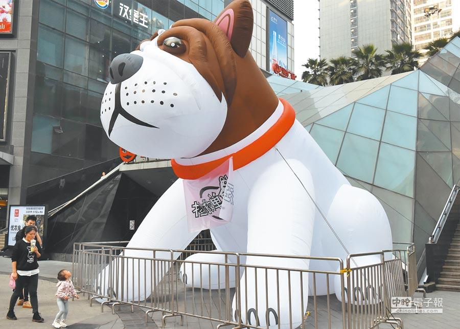 巨型「單身狗」坐陣重慶商圈,吸引民眾駐足。(中新社資料照片)