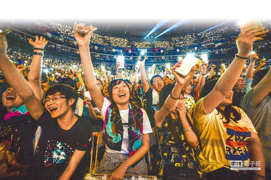大陸網友規模破8億。圖為上海二次元演唱會,手機燈海湧動。(CFP)
