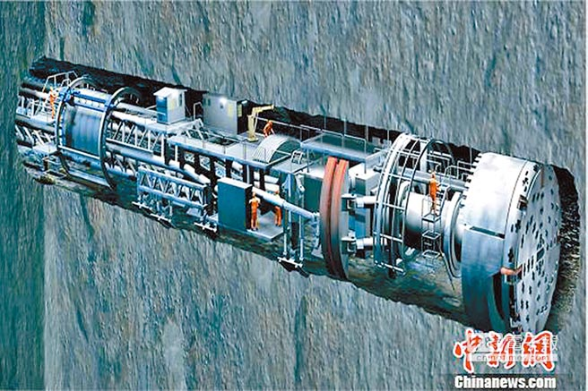 TBM隧洞掘進演示圖。(取自中新網)
