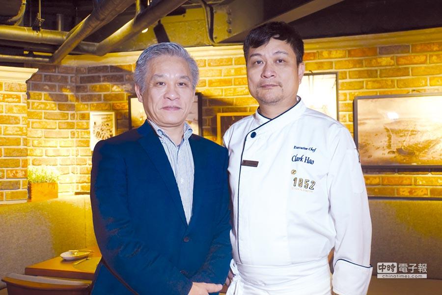 〈綻1852〉執行長賴鴻昌(左)與主廚克拉克都出自〈雅室牛排〉,如今攜手 創業希望以全新概念提供牛排老饕不一樣的選擇。圖/姚舜