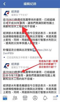 經濟部稱823豪雨超過日本平成30年 網罵:還在被殖民嗎?