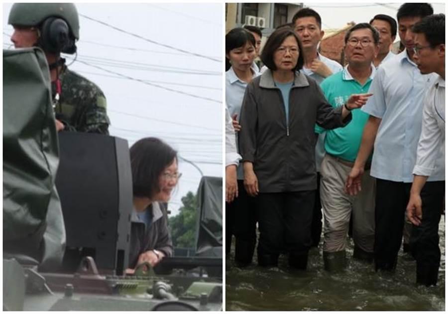 (左圖)蔡總統昨日原本是搭雲豹裝甲車進入尚在淹水的嘉義布袋鎮永安里勘災。(右圖)蔡英文後來「撩水」勘災,水深最深約及膝。(張亦惠攝)