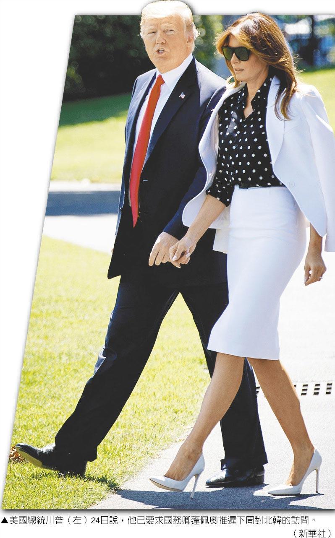 美國總統川普(左)24日說,他已要求國務卿蓬佩奧推遲下周對北韓的訪問。(新華社)
