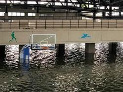 真理大學籃球場淹成「釣蝦池」網驚:開船進去?