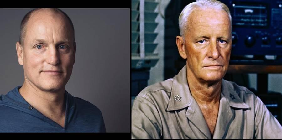 將要開鏡的中途島海戰電影,伍迪哈理遜(左)飾演尼米茲上將(右)。(圖/網路)