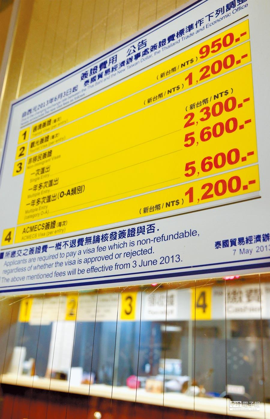泰國經濟辦事處每天提供數量有限的民眾可以親辦簽證,多數民眾須透過旅行社代辦。圖為泰國簽證辦理處。 (王英豪攝)