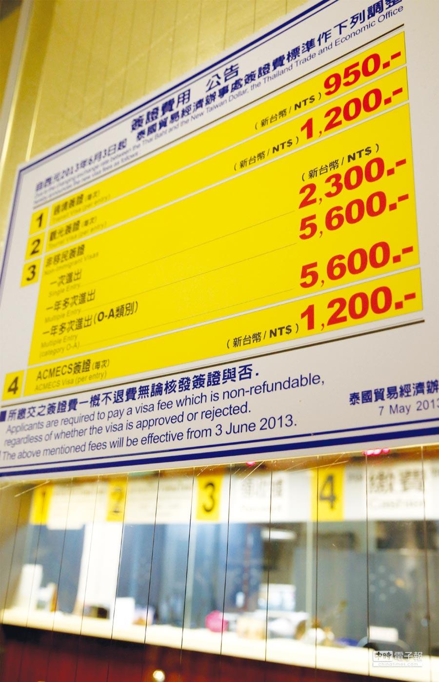 面對反彈,泰國駐台北貿易經濟辦事處昨(29)日態度急轉彎,發布公告表示現行申請觀光簽證方式不變。圖為泰國簽證辦理處。圖/王英豪