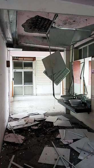 開學首日 碰! 吉安國小天花板剝落險砸廚工