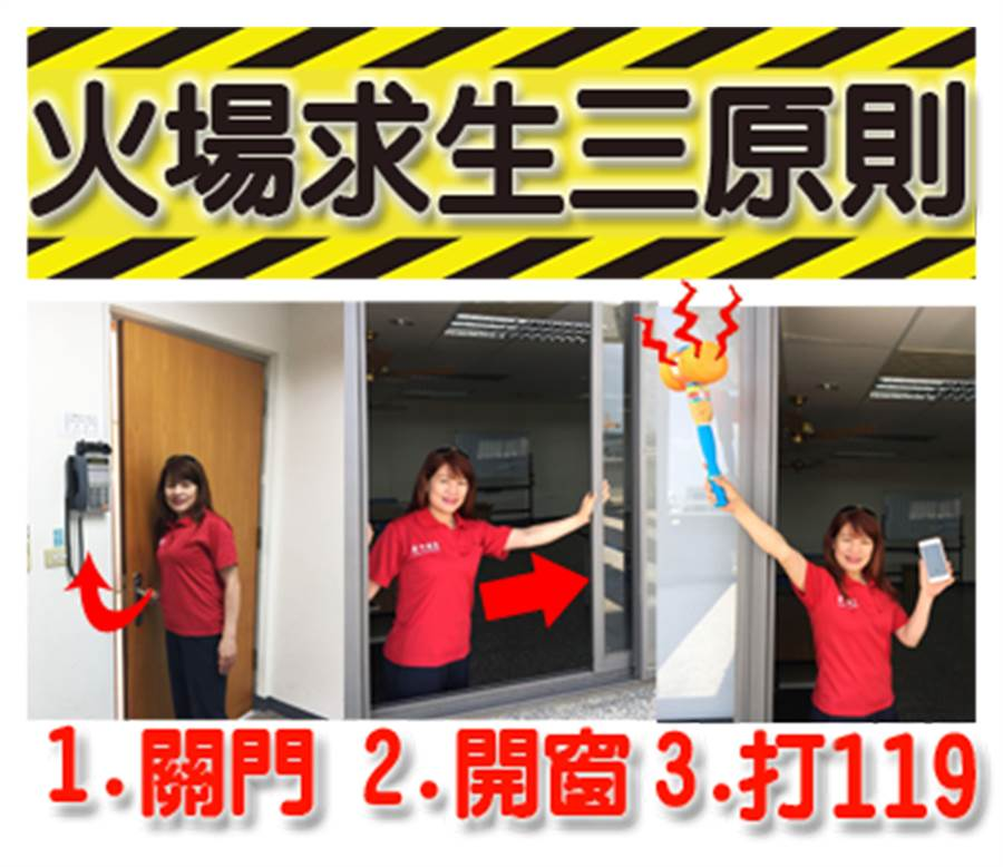 中市義勇消防總隊婦女防火宣導大隊第六中隊,推出「LINE」防火宣導貼圖,指出遇住宅火災三步驟。(黃國峰翻攝)