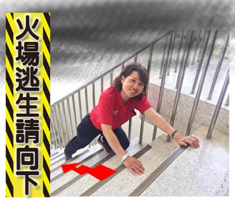 中市義勇消防總隊婦女防火宣導大隊第六中隊,推出「LINE」防火宣導貼圖,指出大樓火災逃生要向下。(黃國峰翻攝)