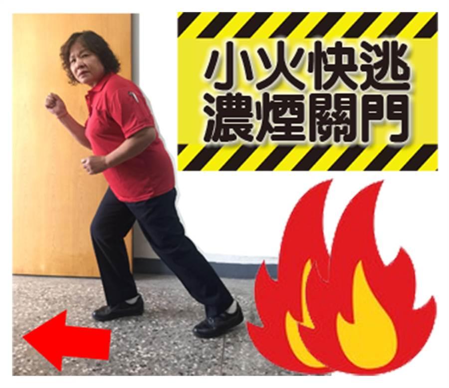 中市義勇消防總隊婦女防火宣導大隊第六中隊,推出「LINE」防火宣導貼圖,指出小火快逃,濃煙關門。(黃國峰翻攝)