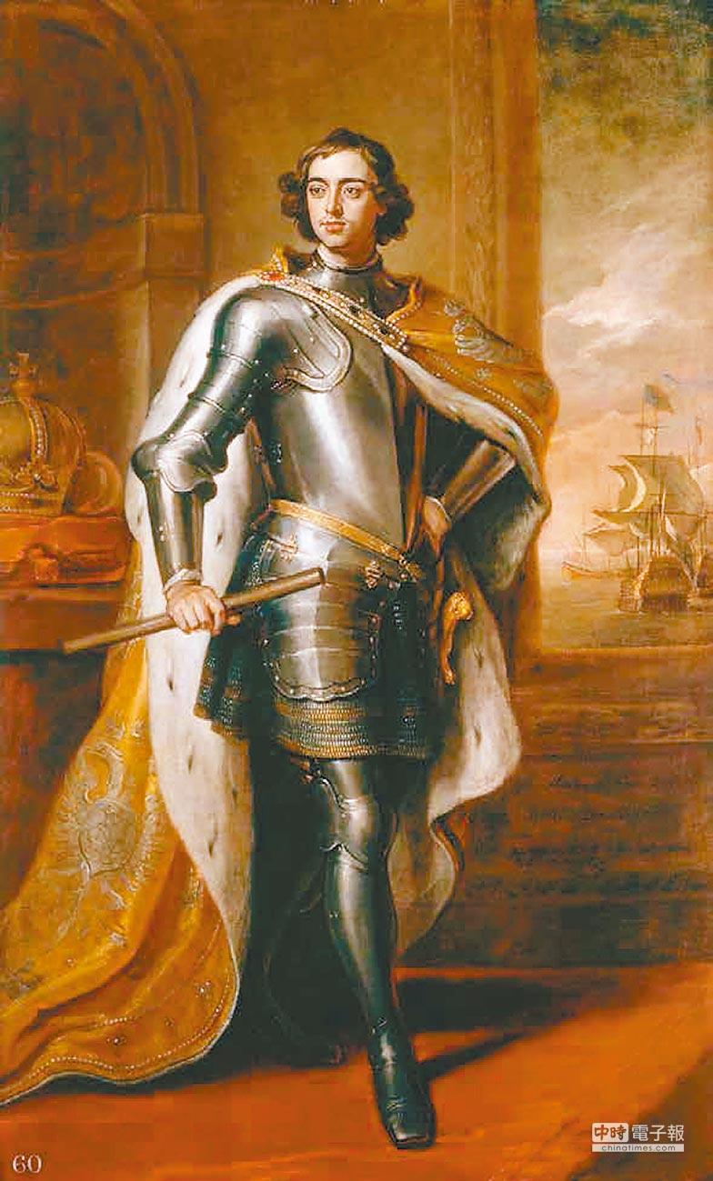 英國宮廷畫師戈弗雷.內勒筆下的彼得大帝肖像畫,可見其威風凜凜的沙皇之姿。(聯經出版提供)